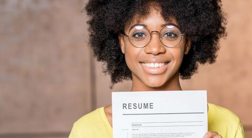 Woman holding resume