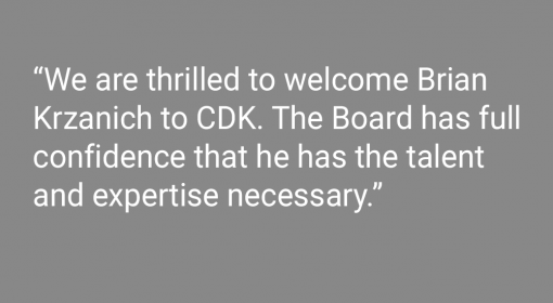 Media Center CDK Global Names Brian Krzanich President and Chief Executive Officer